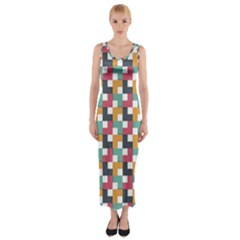 Background Abstract Geometric Fitted Maxi Dress