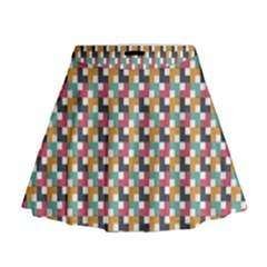 Background Abstract Geometric Mini Flare Skirt