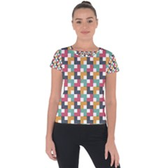 Background Abstract Geometric Short Sleeve Sports Top