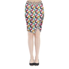 Background Abstract Geometric Midi Wrap Pencil Skirt