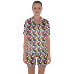 Background Abstract Geometric Satin Short Sleeve Pyjamas Set
