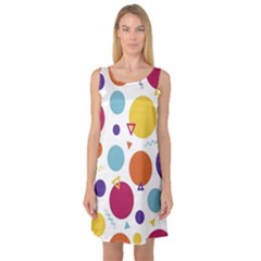 Background Polka Dot Sleeveless Satin Nightdress