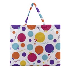 Background Polka Dot Zipper Large Tote Bag