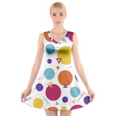 Background Polka Dot V Neck Sleeveless Skater Dress