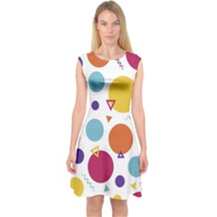 Background Polka Dot Capsleeve Midi Dress