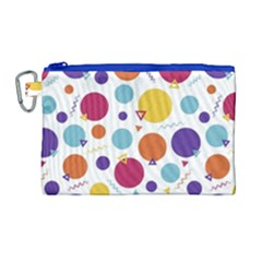 Background Polka Dot Canvas Cosmetic Bag (large)