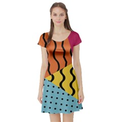 Background Abstract Memphis Short Sleeve Skater Dress