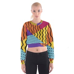 Background Abstract Memphis Cropped Sweatshirt