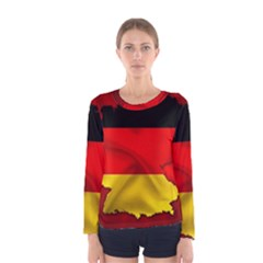 Germany Map Flag Country Red Flag Women s Long Sleeve Tee