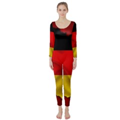 Germany Map Flag Country Red Flag Long Sleeve Catsuit
