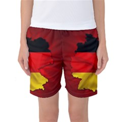 Germany Map Flag Country Red Flag Women s Basketball Shorts