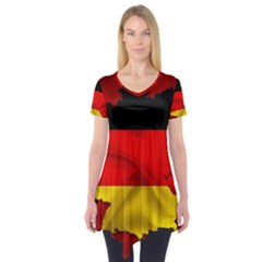 Germany Map Flag Country Red Flag Short Sleeve Tunic  by Nexatart