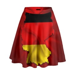 Germany Map Flag Country Red Flag High Waist Skirt
