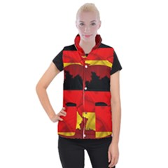 Germany Map Flag Country Red Flag Women s Button Up Puffer Vest