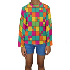 Squares Abstract Background Abstract Kids  Long Sleeve Swimwear