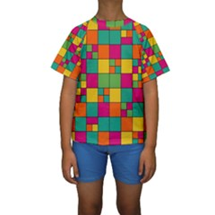 Squares Abstract Background Abstract Kids  Short Sleeve Swimwear