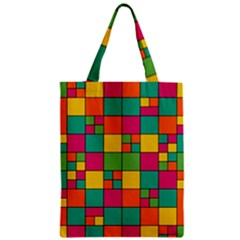 Squares Abstract Background Abstract Zipper Classic Tote Bag