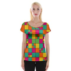 Squares Abstract Background Abstract Cap Sleeve Tops