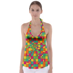 Squares Abstract Background Abstract Babydoll Tankini Top