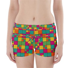 Squares Abstract Background Abstract Boyleg Bikini Wrap Bottoms