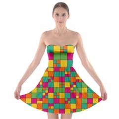 Squares Abstract Background Abstract Strapless Bra Top Dress