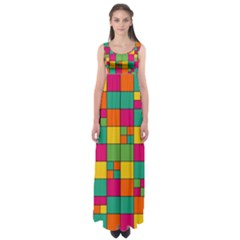 Squares Abstract Background Abstract Empire Waist Maxi Dress