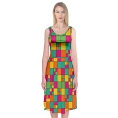 Squares Abstract Background Abstract Midi Sleeveless Dress