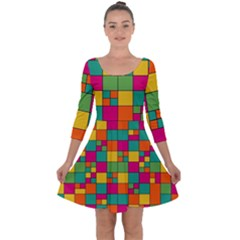 Squares Abstract Background Abstract Quarter Sleeve Skater Dress