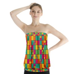 Squares Abstract Background Abstract Strapless Top
