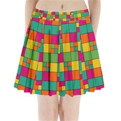 Squares Abstract Background Abstract Pleated Mini Skirt