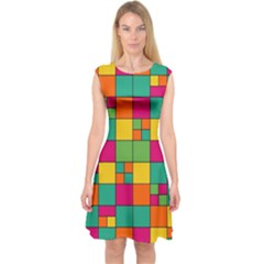 Squares Abstract Background Abstract Capsleeve Midi Dress