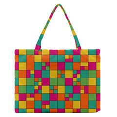 Squares Abstract Background Abstract Zipper Medium Tote Bag