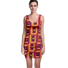 3 D Squares Abstract Background Bodycon Dress