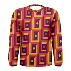 3 D Squares Abstract Background Men s Long Sleeve Tee