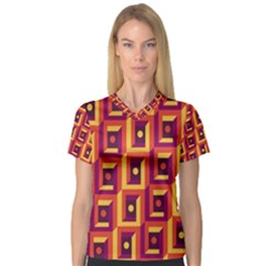 3 D Squares Abstract Background V Neck Sport Mesh Tee