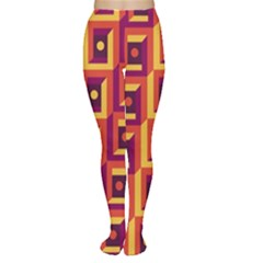 3 D Squares Abstract Background Women s Tights