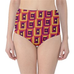 3 D Squares Abstract Background High Waist Bikini Bottoms