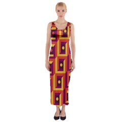 3 D Squares Abstract Background Fitted Maxi Dress