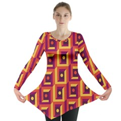 3 D Squares Abstract Background Long Sleeve Tunic