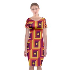3 D Squares Abstract Background Classic Short Sleeve Midi Dress