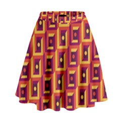 3 D Squares Abstract Background High Waist Skirt
