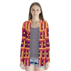 3 D Squares Abstract Background Drape Collar Cardigan