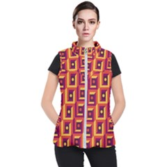 3 D Squares Abstract Background Women s Puffer Vest