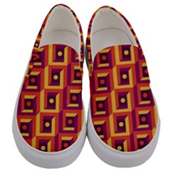 3 D Squares Abstract Background Men s Canvas Slip Ons