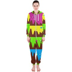 Illustration Abstract Graphic Hooded Jumpsuit (ladies)