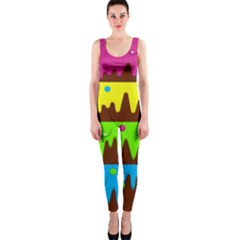 Illustration Abstract Graphic One Piece Catsuit