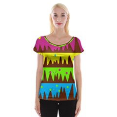Illustration Abstract Graphic Cap Sleeve Tops