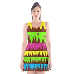 Illustration Abstract Graphic Scoop Neck Skater Dress