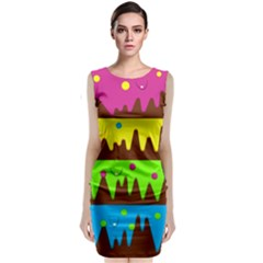 Illustration Abstract Graphic Classic Sleeveless Midi Dress
