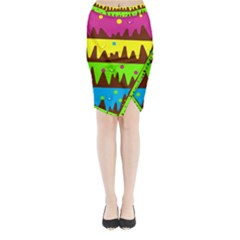Illustration Abstract Graphic Midi Wrap Pencil Skirt